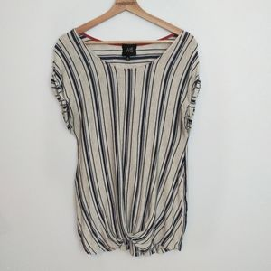 W5 Striped Twist Knotted Front Top Size Large